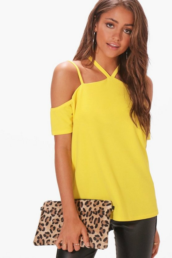 Strappy Neck Cold Shoulder Top