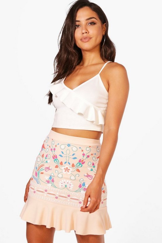Drop Hem Embroidered Front Mini Skirt