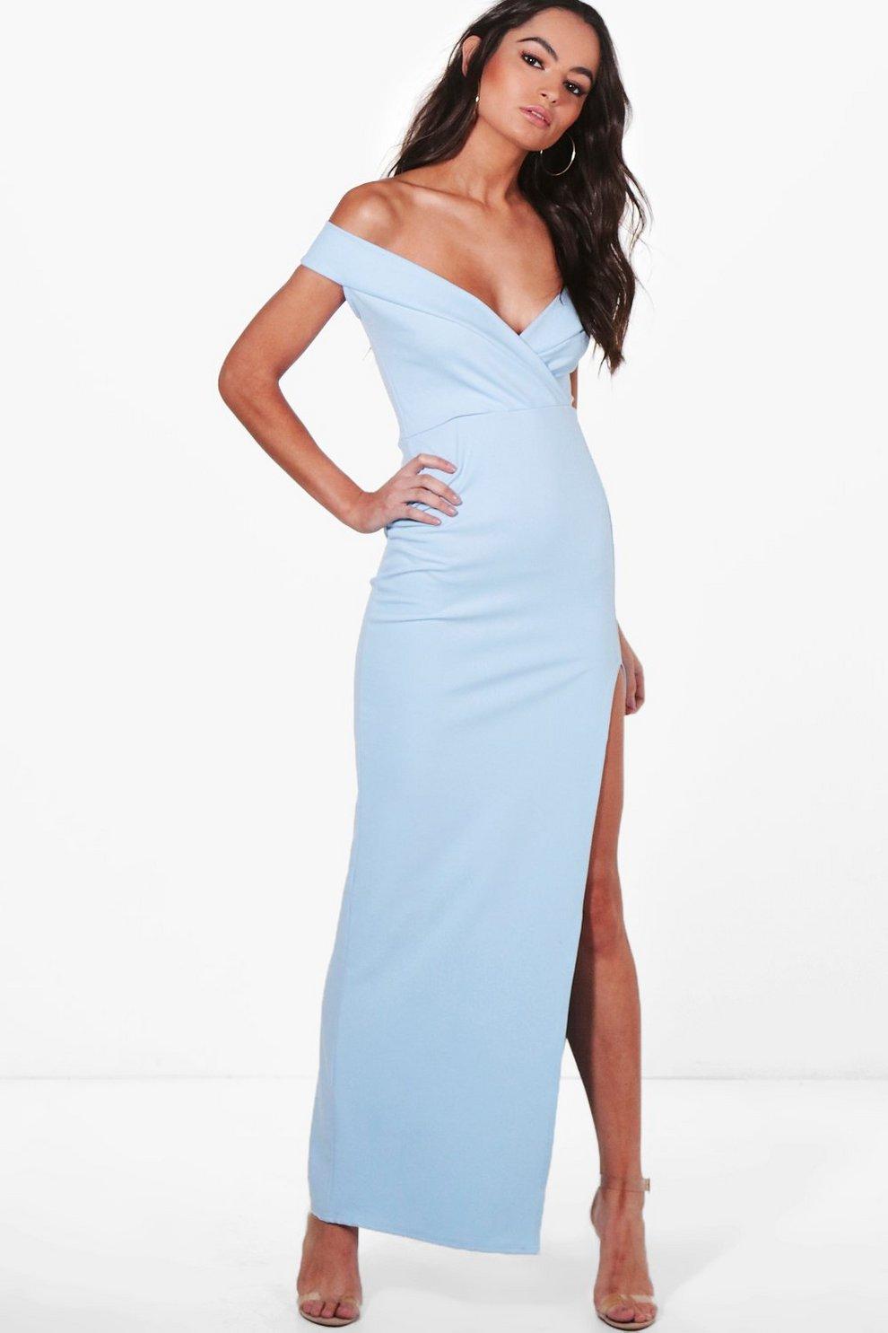 5f4eebd741 Wrap Top Bardot Maxi Dress