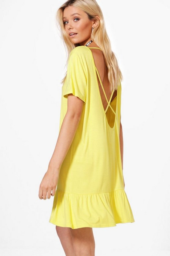 Alana Caged Back Drop Hem Shift Dress