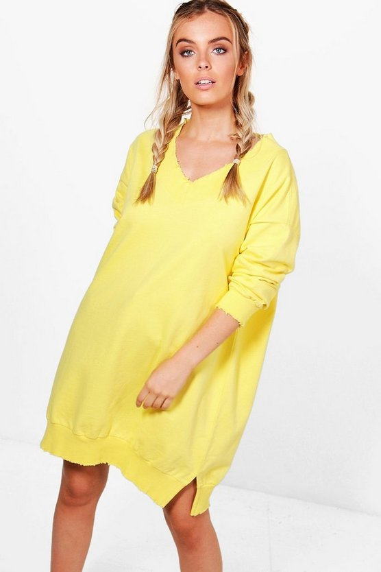 Oversized V Neck Raw Edge Sweat Dress