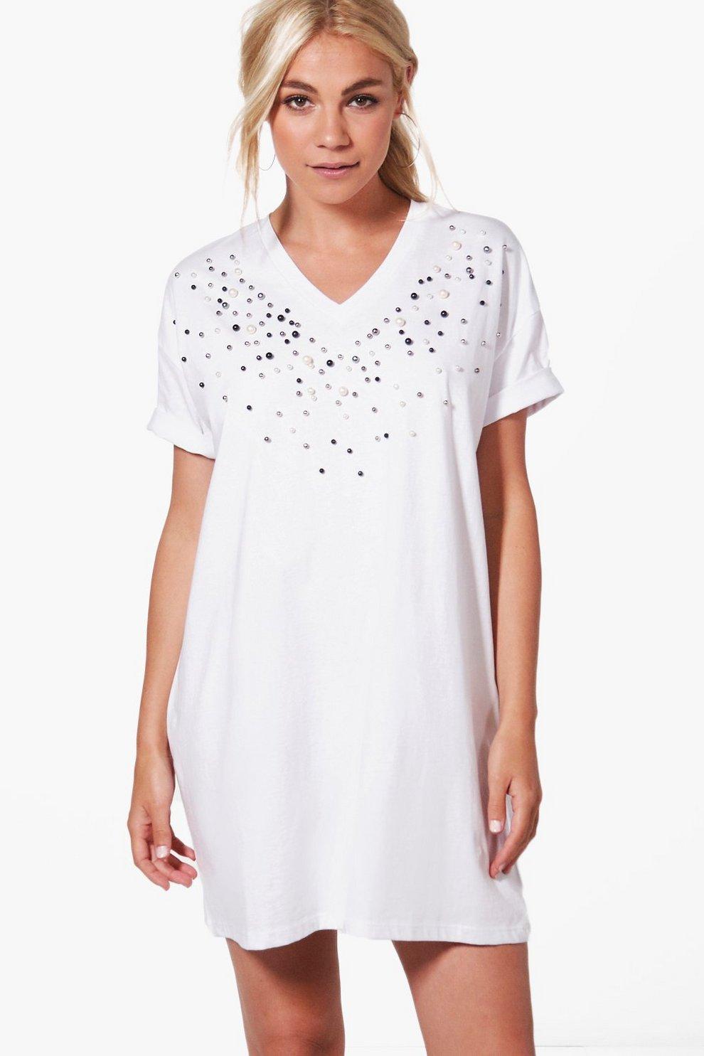200153e9c8ff Isabel Embellished T-Shirt Dress | Boohoo