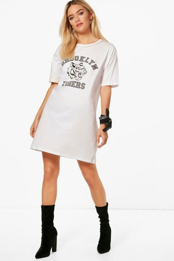 Womens White Arabella Pearl Choker Oversized T-Shirt Dress