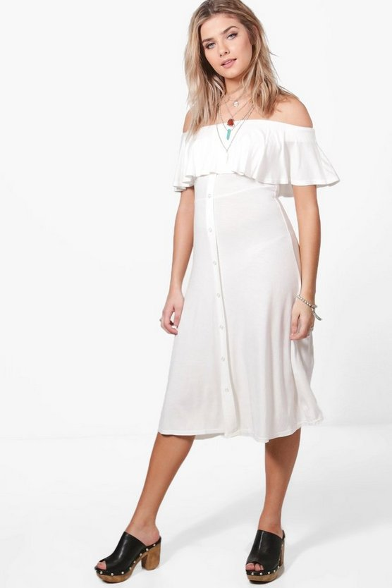 Off Shoulder Button Frill Midi Dress