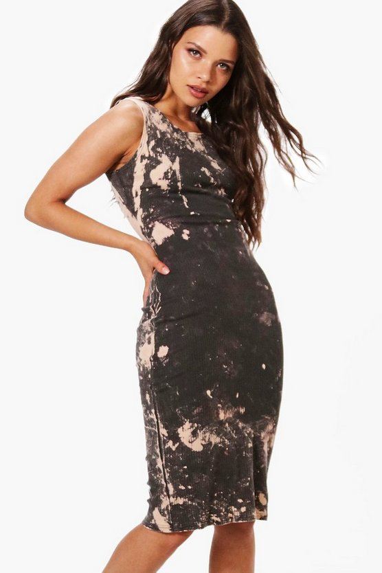 Audrina Bleach Wash Racer Neck Midi Dress