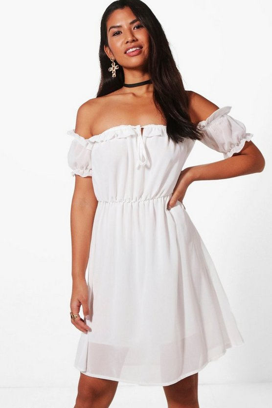 Ashley Ruffle Bardot Dress