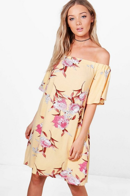 Womens Yellow Elena Off The Shoulder Floral Shift Dress