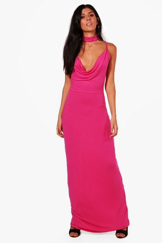 Bolo Neck Tie Belted Maxi Dress