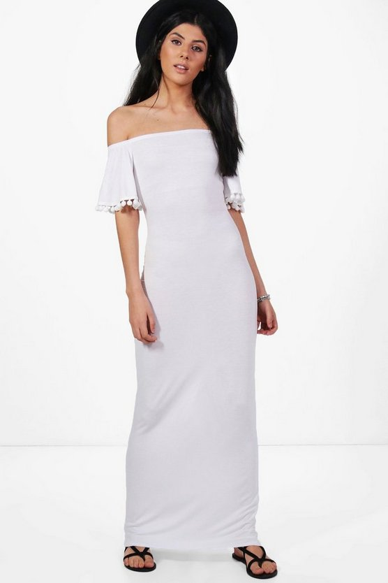 Rosie Off The Shoulder Pom Pom Trim Maxi Dress