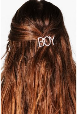 Boy Slogan Hairclip, Silver, Donna