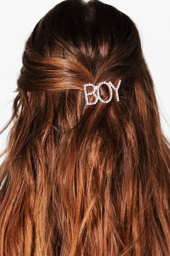 Womens Silver Tegan Boy Slogan Hairclip