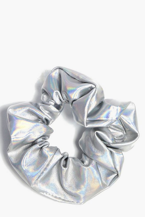 Womens Silver Metallic Holographic Scrunchie