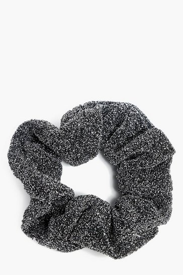 Womens Black Sparkly Glitter Scrunchie