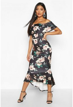 Womens Black Floral Bardot Frill Hem Midi Dress