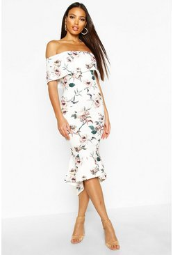 Floral Bardot Frill Hem Midi Dress, Multi, Donna