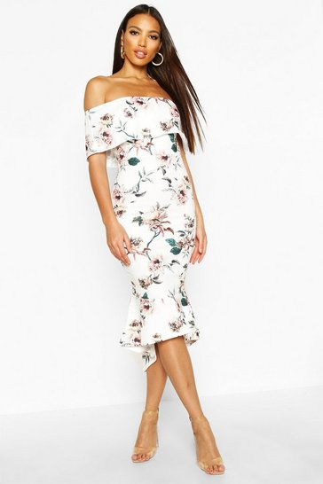 Womens Multi Floral Bardot Frill Hem Midi Dress