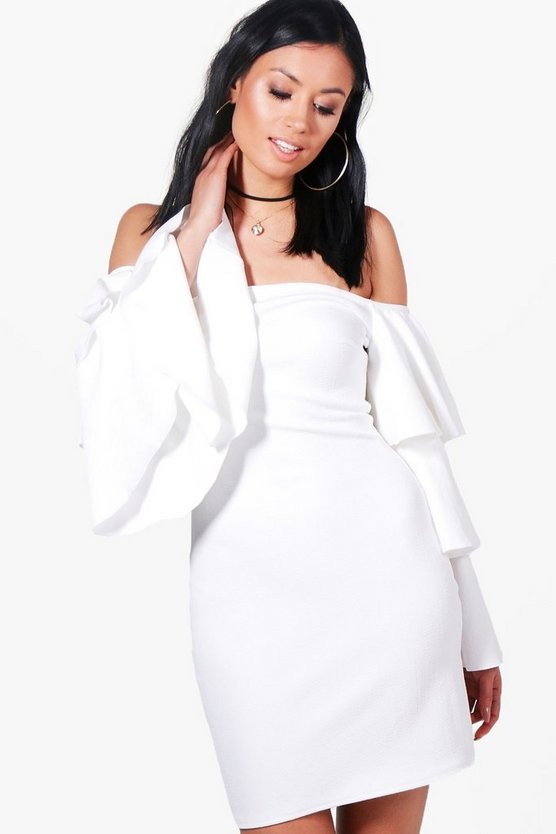 Dinah Off The Shoulder Ruffle Bodycon Dress