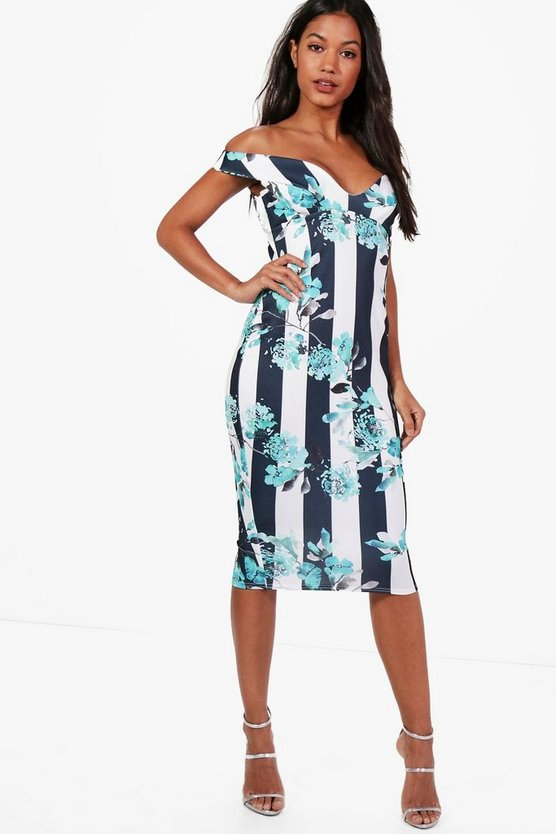 Effie Stripe Floral Off The Shoulder Midi dress