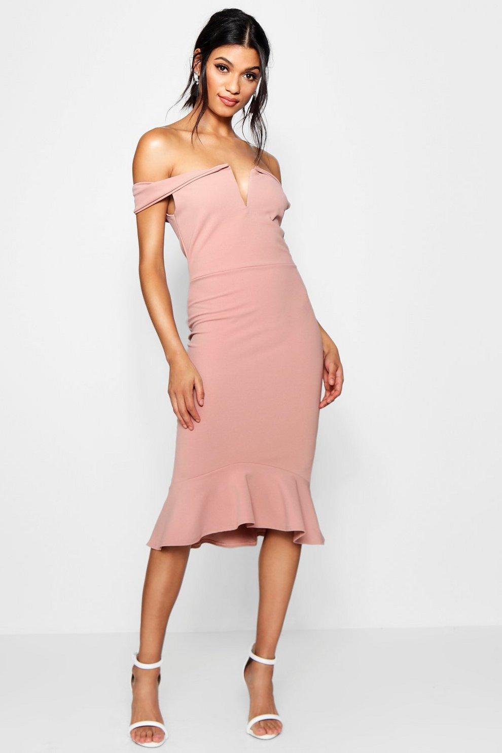 433785684 Off The Shoulder Frill Hem Midi Dress | Boohoo