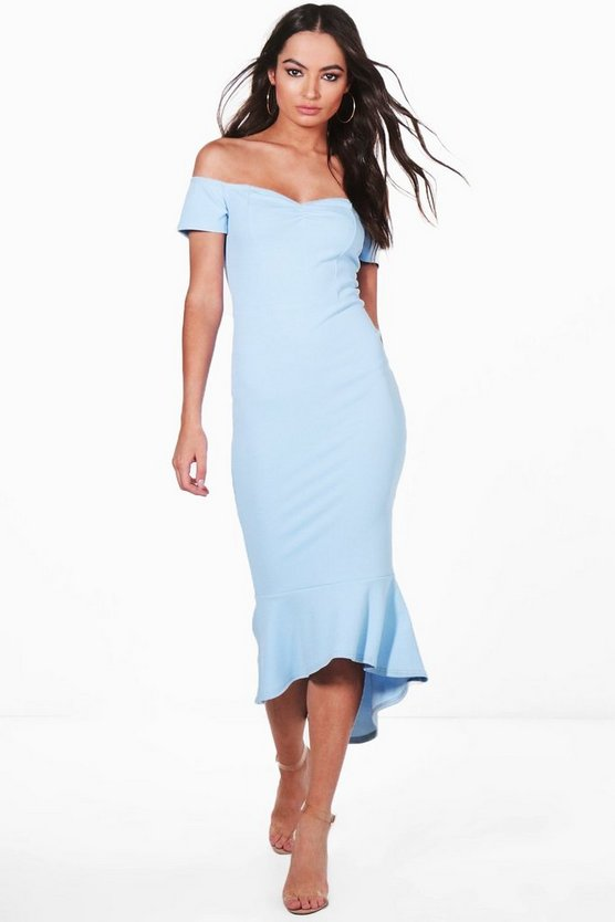 Off The Shoulder Frill Hem Midi Dress