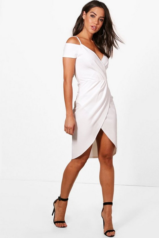 Wrap Cold Shoulder Midi Dress