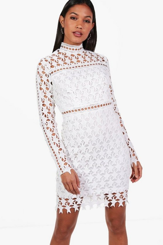 Star Print Crochet Bodycon Dress