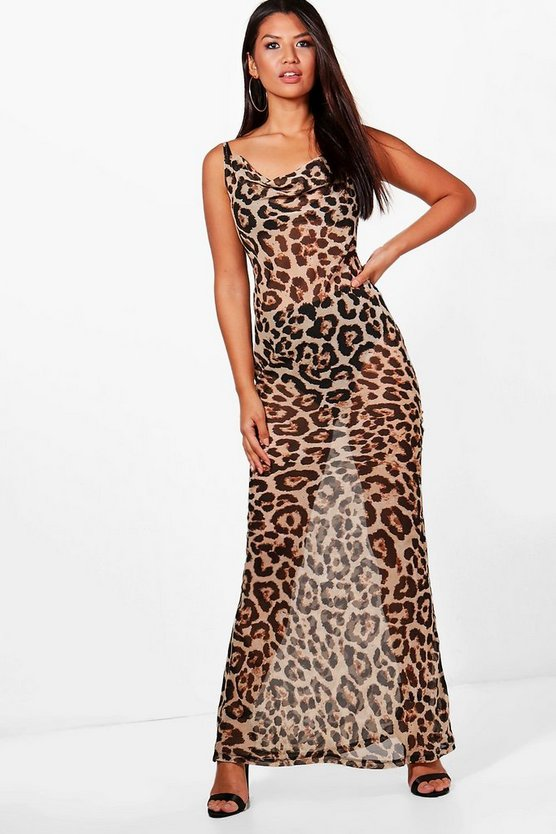 Stassy Leopard Print Strappy Maxi Dress