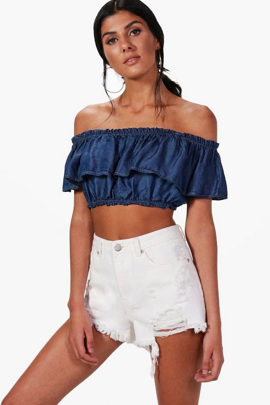 Riley Ruffle Bardot Denim Top