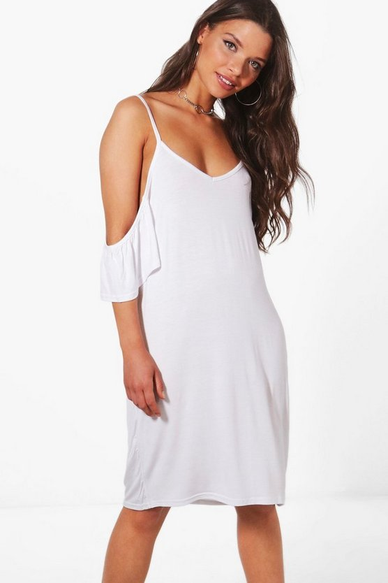 Sophie Cold Shoulder Ruffle Shift Dress