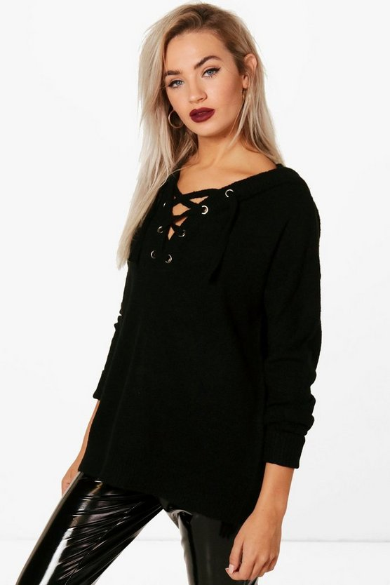 Womens Black Lace Up Soft Knit Jumper