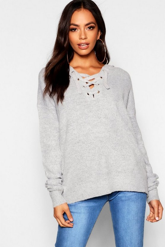 Lace Up Soft Knit Jumper