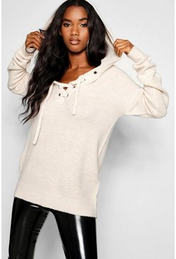 Lace Up Soft Knit Jumper, Oyster, Donna
