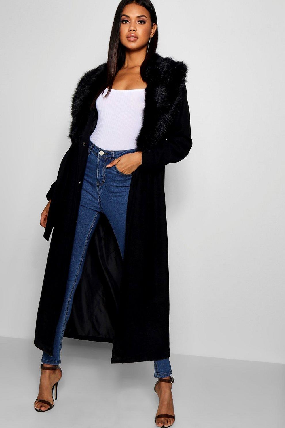 c6e25a9a87d Maxi Faux Fur Collar Wool Look Coat