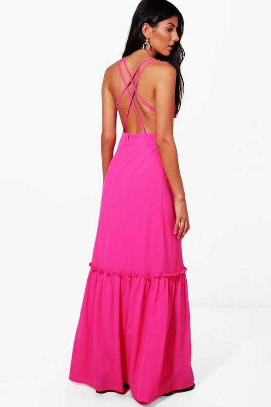 Crepe Open Strappy Back Maxi Dress
