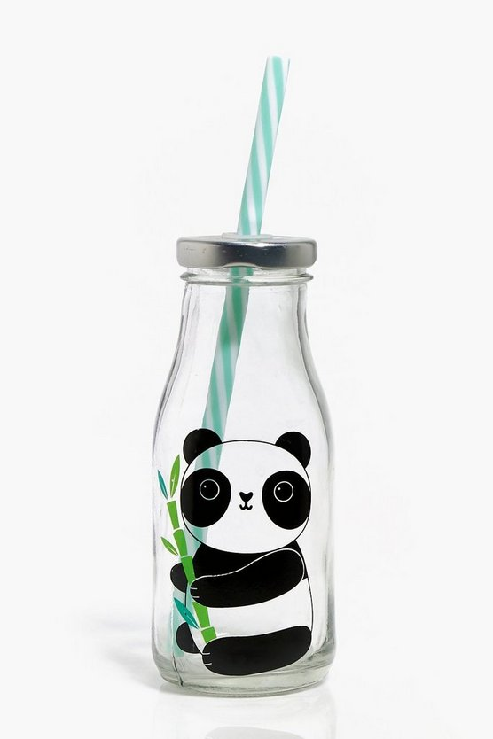 Panda Print Straw Bottle