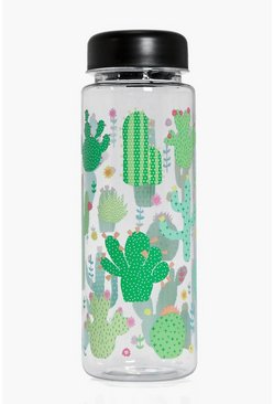 Womens Green Colourful Cactus Clear Water Bottle