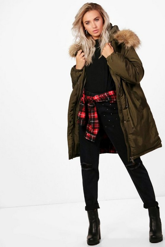 Boutique  Parka With Faux Fur Trim