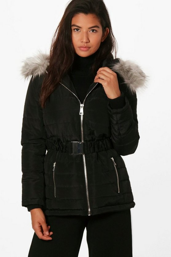 Roxanne Quilted Belted Jacket With Faux Fur Trim