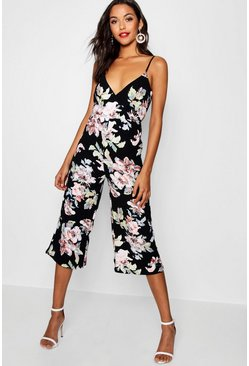 Womens Black Floral Wrap Around Jumpsuit