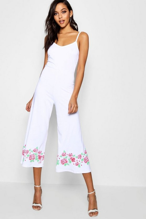 Faye Embroidered Culotte Jumpsuit