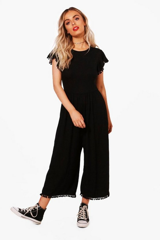 Womens Black Pom Pom Trim Culotte Jumpsuit
