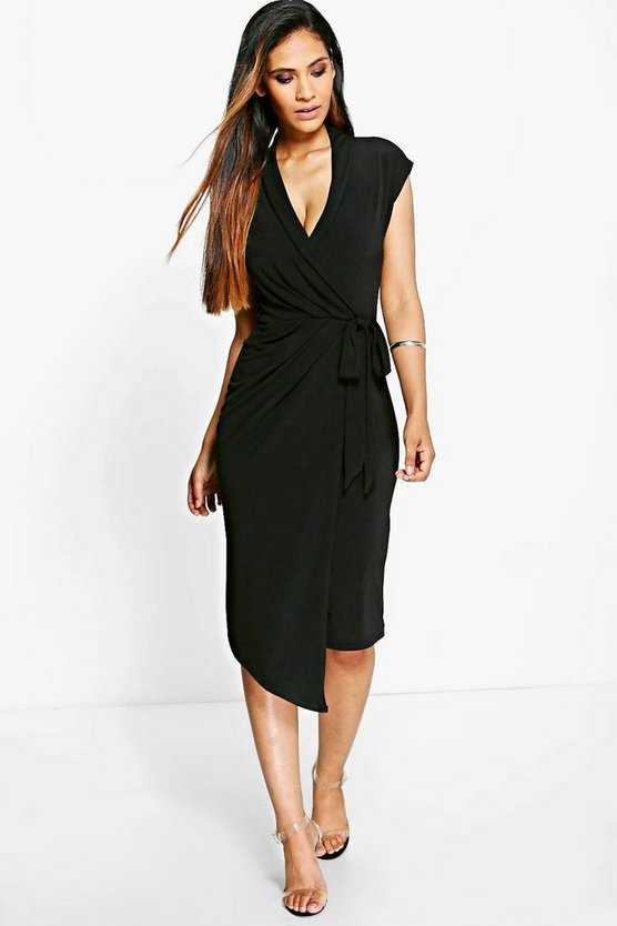 Womens Black Wrap Front Midi Dress