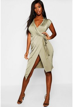 Womens Khaki Wrap Front Midi Dress