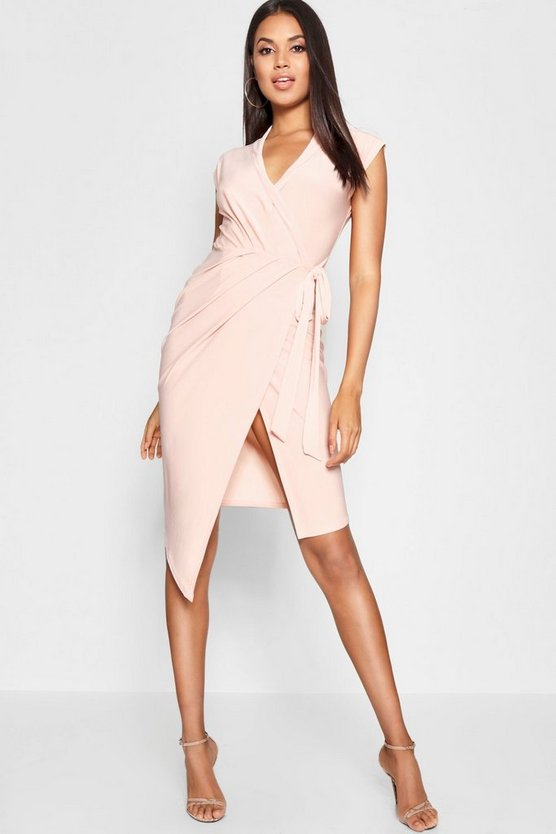 Womens Nude Wrap Front Midi Dress