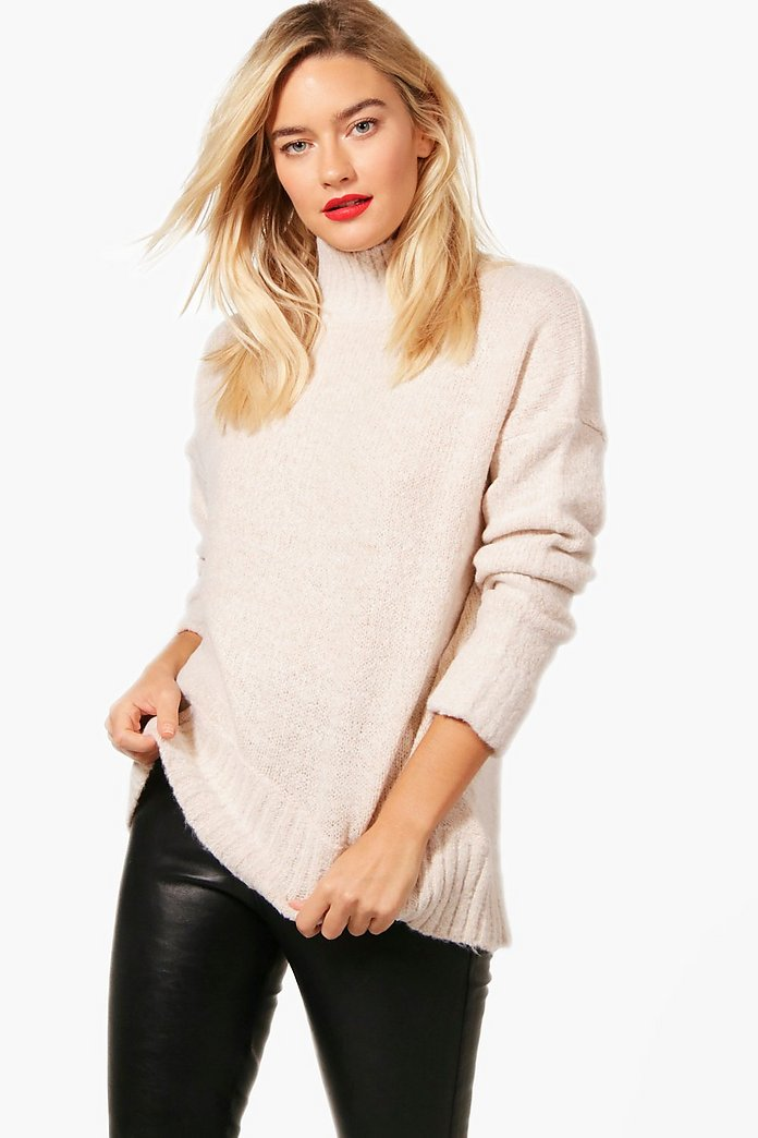 natalie pull col cheminée en maille douce | boohoo