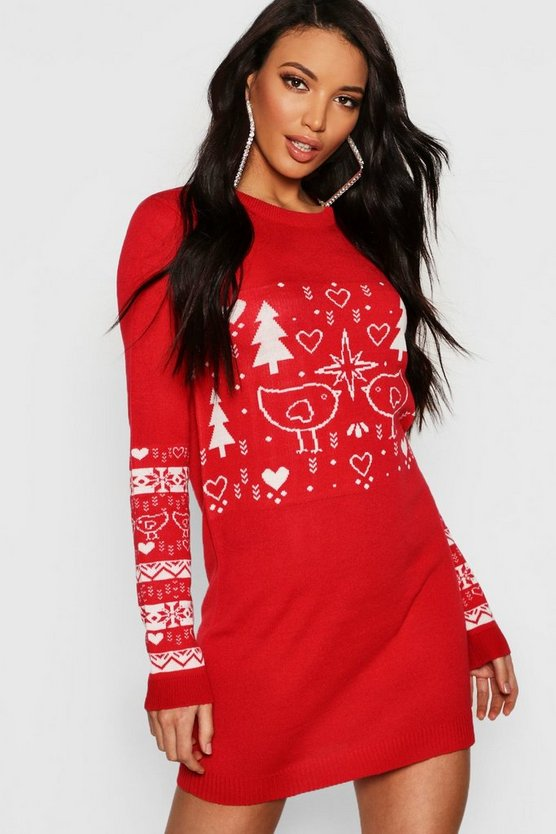 Christmas Jumper Dress, Red, Donna