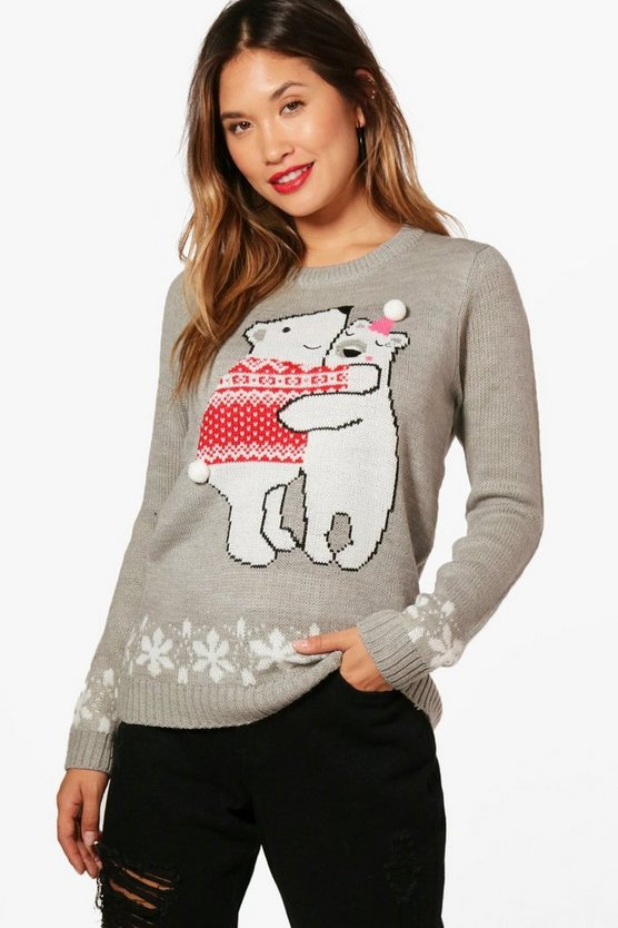 Womens Grey marl Pom Pom Christmas Jumper