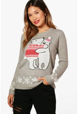 Pom Pom Christmas Jumper, Grey marl, Donna