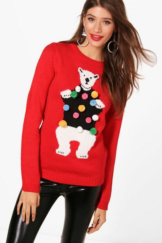 Womens Red Francesca Pom Pom Polar Bear Christmas Jumper