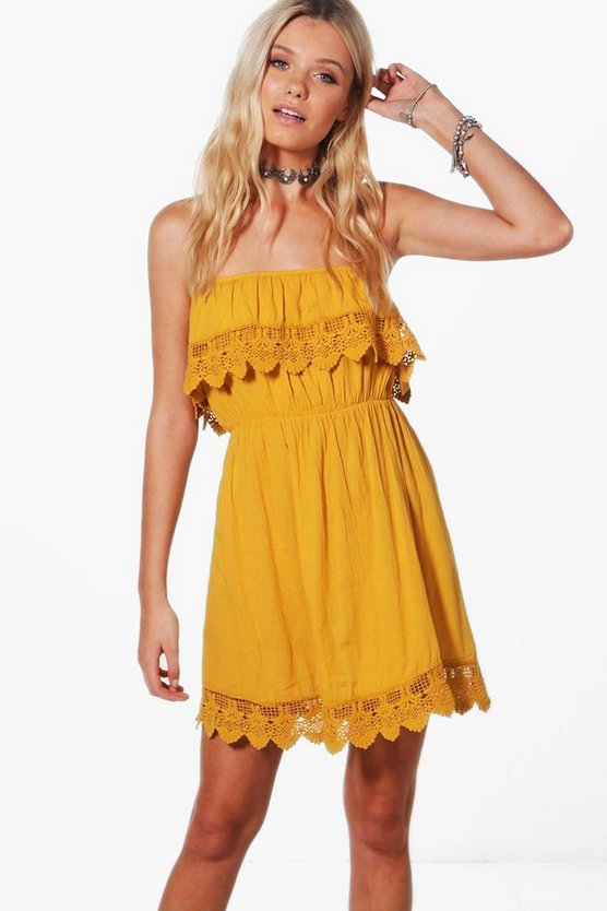 Womens Mustard Crochet Trim Sundress